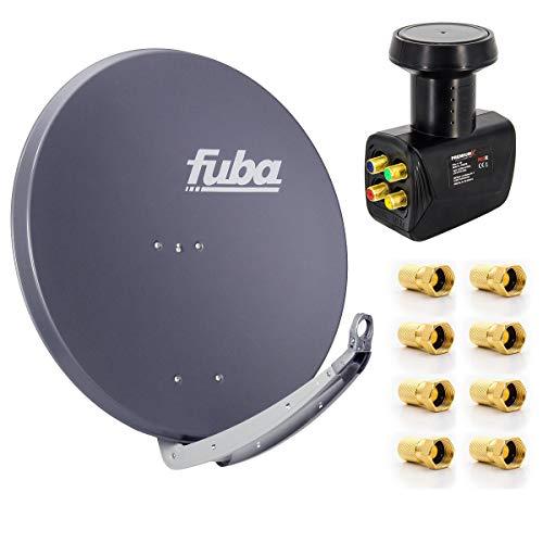 Fuba Digital Sat-Anlage DAA 850 A Satellitenschüssel Anthrazit 85x85cm + PremiumX Quad LNB für 4 Teilnehmer + 8 F-Stecker - Komplett Set HDTV Full HD 4K tauglich + 8X F-Stecker