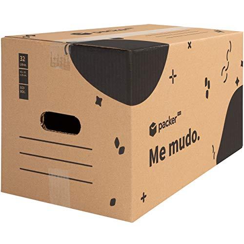 packer PRO Pack 20 Cajas Carton para Mudanzas y Almacenaje con Asas 430x300x250mm