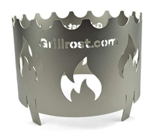 Grillrost.com Das Original Edelstahl Wokaufsatz für Feuerplatte Ø 20 cm - Verwenden Sie Ihren Wok auf der Feuerplatte