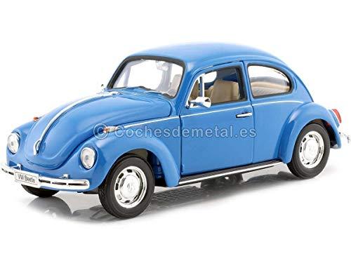 VW Käfer, hellblau, 1972, Modellauto, Fertigmodell, Welly 1:24