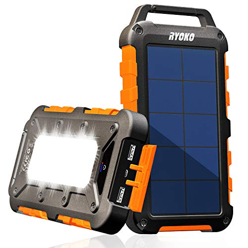 Solar Charger, Ryoko Portable Solar Phone Charger, 20000mAh Solar Power Bank External Battery Backup for Outdoor Camping Gear Equipment Survival Kit, Compatible for Phone, Waterproof
