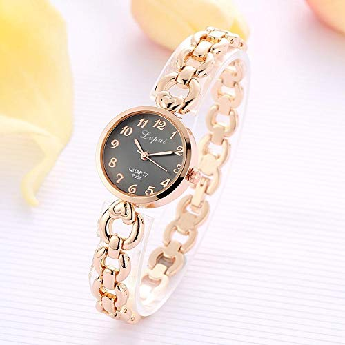 OPYTR Relojes de Mujer Reloj de Las Mujeres de Acero del Reloj Reloj de Las Mujeres de la Vendimia Mujeres del Oro Pulsera de Reloj de señoras Inoxidable Reloj de Pulsera (Color : D)