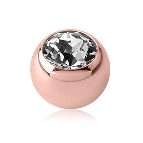 eeddoo Piercingkugel Kristall Rosegold Edelstahl 1,2 x 3mm Kristallklar