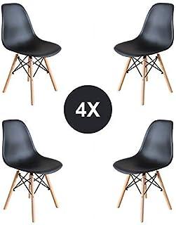 EGOONM Lot de 4/6 chaises Blanc/Noir Design Bois Chaise de Salle à Manger (noir01-4)