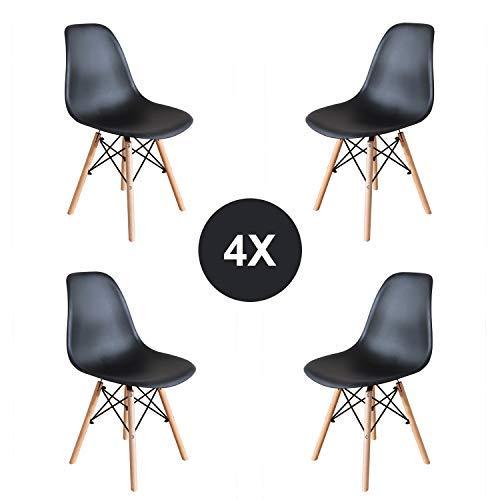 4er Set Stühle Nordischen Stil Kunststoff Wohnzimmerstuhl Holz Esszimmerstuhl Bürostuhl (Schwarz)