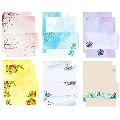 72Pcs Stationary Set Japanese Stationery Letter Writing Paper, Stationary Papers and Envelopes Set - 48 Stationary Papers + 24 Envelopes, 7.5 x 10.4 Inch of Each Stationary Paper for Office School
