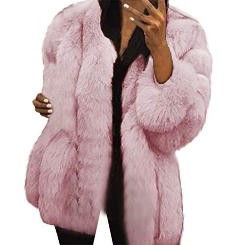 Damen Wintermantel Frauen Übergröße Kurzer Faux Coat Warm Pelzjacke Langarm Oberbekleidung Basic Stylisch Warm Dick Herbst Wintermantel(Pink,XXXL)