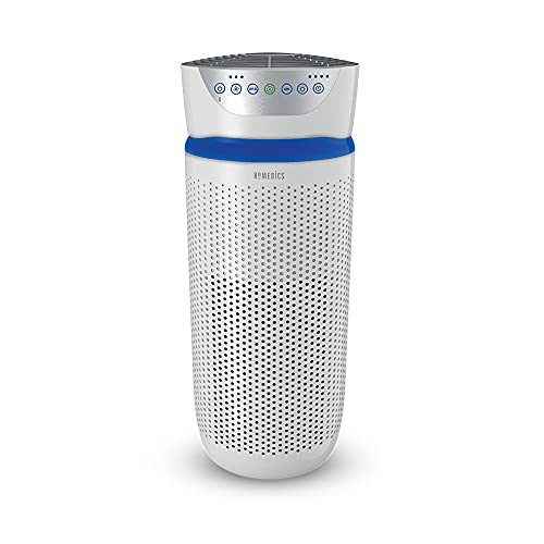 HoMedics TotalClean Tower Air Purifier for Viruses, Bacteria, Allergens, Dust, Germs, HEPA Filter, UV-C Technology, 5-in-1 Purifying, Ionizer, Carbon Odor Filter for Large Rooms, Home Office, White