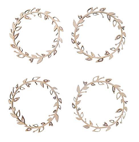 Rayher 46489000 Holz Streuteile Blätterkranz, 5,5 cm ø, Beutel 4 Stück, für schnelle & romantische Hochzeitsdekorationen