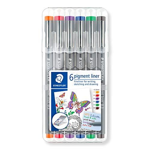 Staedtler 30803-SSB6ST Pigment Fineliner (mit Pigmenttinte, wasserfest, lichtbeständig, dokumentenecht, Etui mit 6 farblich sortierten Pigment Linern, Linienbreite 0,3 mm)