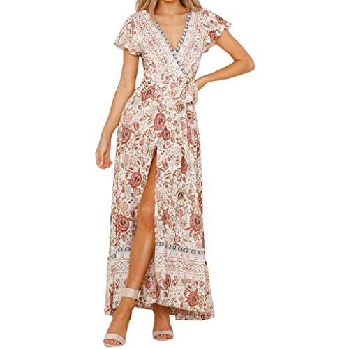Lange jurk, Nieuwste Womens Boho V-hals Bloemen Zomer Feest Avond Strand Lange Jurk Sundress, L, Kleur: wit, 1
