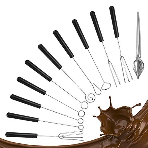 Ledoo 10Pcs Schokolade Gabel Edelstahl Pralinenbesteck Tauchgabel Schokolade Gabel Set Schokoladengabel mit 1* Bleistiftlöffel für Handgemachte Pralinen und Trüffe