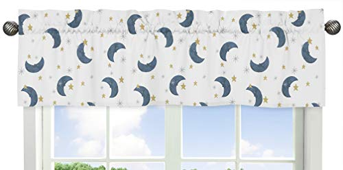 Sweet Jojo Designs Moon and Star - Cenefa para ventana, diseño de luna y estrella, color azul marino y dorado
