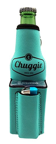 Chuggie Flasche mit zwei Taschen – für Zigaretten und Feuerzeug, Telefon, Schlüssel, 3 mm Neopren (4 Stück, blaugrün)