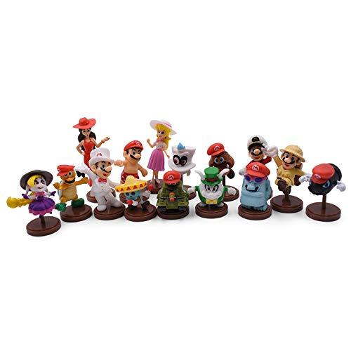 Plushe 15Pcs/Set 3-7cm Luigi Bros Figure Goomba Yoshi PVC Figurines Toys Dolls Peach Princess Mushroom Kids Gifts