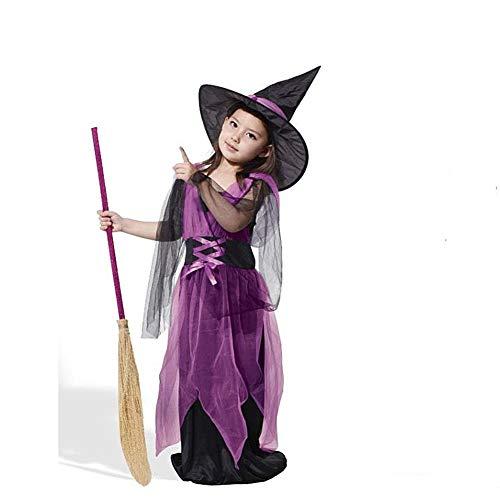 Proumhang Cosplay Halloween Costume da Strega Abito da Bambina con Cappello e Scopa telescopica-160cm