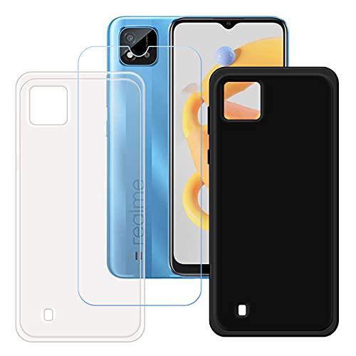 szjckj 2 x Funda para OPPO Realme C20A (6,5')+ 1 x Protector de Pantalla, Case Cover Carcasa Bumper Negro + Transparente Clear TPU Silicone Cristal Vidrio Templado.
