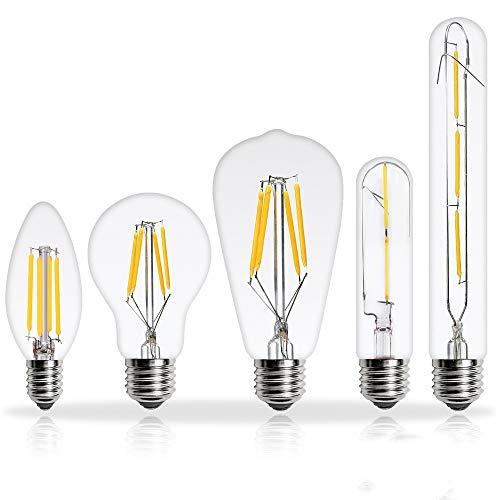 bombillas Lámpara de incandescencia Vintage Retro Candle Glass Bombilla 6pcs Lampada Bombilla LED E27 E14 220V 2W 4W 6W 8W Bombillas LED E27 G95 8W Y