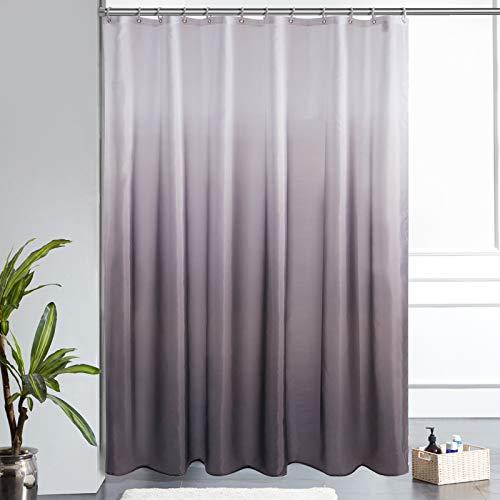 Furlinic Duschvorhang 180x200cm Textile Gardinen aus Stoff Wasserdicht Anti-schimmel Waschbar Badezimmer Vorhang für Bad in Badewanne Weiß nach Schwarz mit 12 Duschringe.