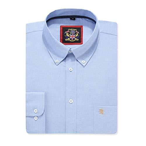 Camisa de manga larga para Hombres, Modelo English Oxford Cuello con botones, con Bolsillo y Bordado. Se lleva con una corbata o en un estilo relajado – Janeo British Apparel