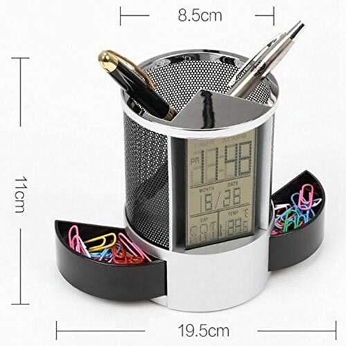 FPRW Pennenkoker, digitale klok, met temperatuurweergave voor datum en tijd, multifunctioneel, bureaudecoratie, zwart