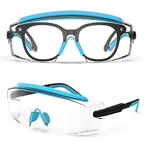 Anti Fog Safety Glasses, Goggles In Glasses Anti-Scratch Glasses With Adjustable Frame And Legs, Clear Glasses, Lab Glasses, Fashion Safety Glasses For Men And Women (Sky Blue 1 Pair)