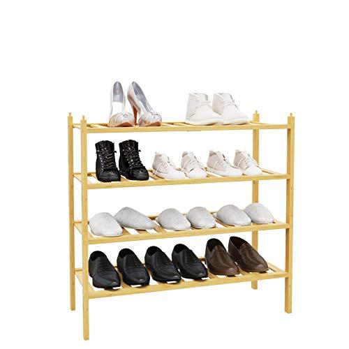 BAMEOS シューズラック 靴棚 下駄箱 シューズボックス 4段 接合可能 天然竹製 靴収納 靴箱 省スペース 玄関収納 収納ラック 組立品 長さ69.0*奥幅28.0*高さ66.0cm