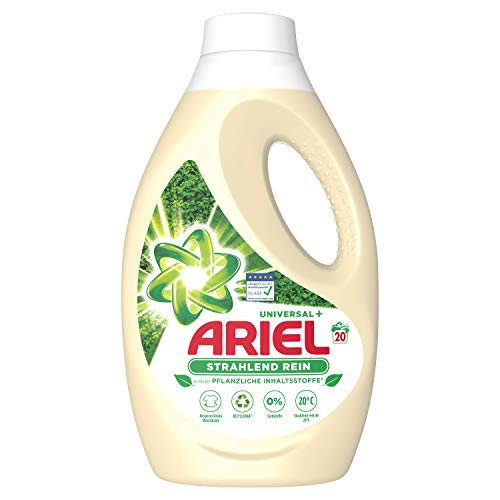Ariel Waschmittel Flüssig, Flüssigwaschmittel Nachhaltig, 20 Waschladungen, Universal Strahlend Rein auf Pflanzenbasis (1.1 L)