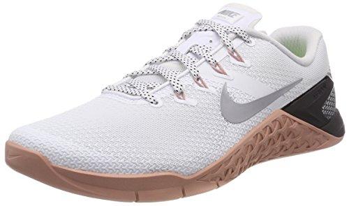 Nike Womens Metcon 4 Running Shoes (9) White/Metallic Silver