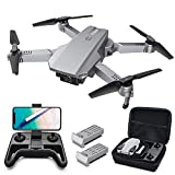 Tomzon D25 4K Drone with camera, Easy to Fly FPV Foldable Drone for Adults, Light Positioning, Hand Gesture Photographing, Path Flight, 3D Flips, Photo Filter, Headless Mode, Split Screen, 2 Batteries