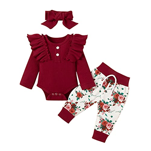 3 Piezas Ropa Bebe Niña 0-18 meses Conjunto Algodon Monos + Pantalón Impresión + Banda Ropa Bebe Recien Nacido Niño Invierno Otoño (12-18 meses, Vino rojo)