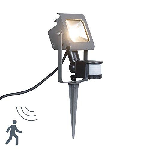 QAZQA Modern LED straler donkergrijs 10W met bewegingsmelder en grondpin - Radius 2 Aluminium/Glas Rechthoekig LED inbegrepen Max. 1 x 10 Watt