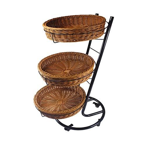 BENOHAOH Imitation Rattan Basket Bekes Redondo Polea de Tres Capas Pantalla móvil, Pantalla móvil Pantalla Bastidor de Frutas (Size : B)