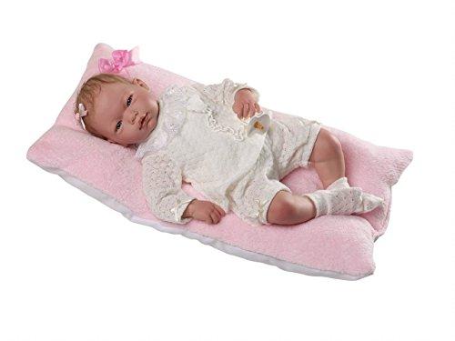 Munecas Guca 10024Reborn Alma Baby Puppe in Beige Anzug Lana Perlé mit spezielle Haar, 46cm