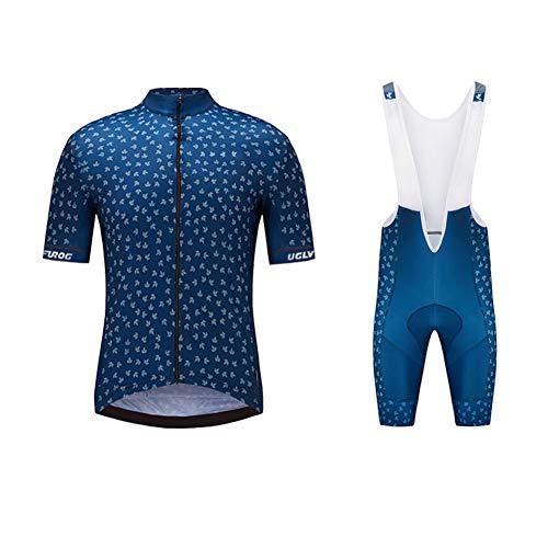 Uglyfrog Herren Radtrikot Set Atmungsaktiv Schnelltrockend Jersey Shirts Kurzarm + Radhose mit 3D Sitzpolster MTB Fahrradbekleidung