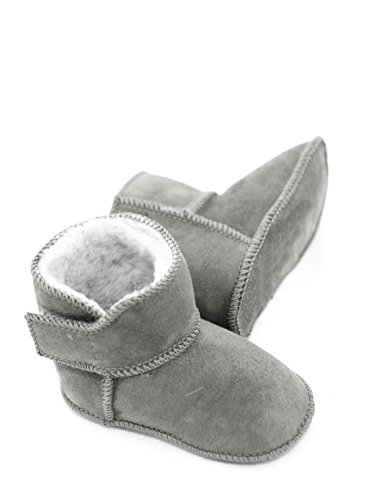 DX-Exclusive Wear Lammfellschuhe Babyschuhe, Stiefel, Klettverschluss, Echt Fell Schuhe Krabeln, Hausschuhe Baby ADB-0001 Madchen, Jungen, Leder (16/17, hellgrau)