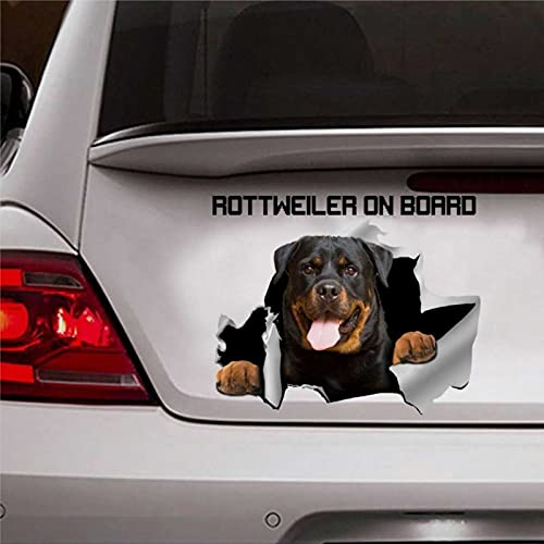 Rottweiler Calcomanía Rottweiler a bordo Pegatina de perro para el día de la madre del coche, calcomanía de vinilo troquelado pegatinas divertidas pegatinas de parachoques presente cm238