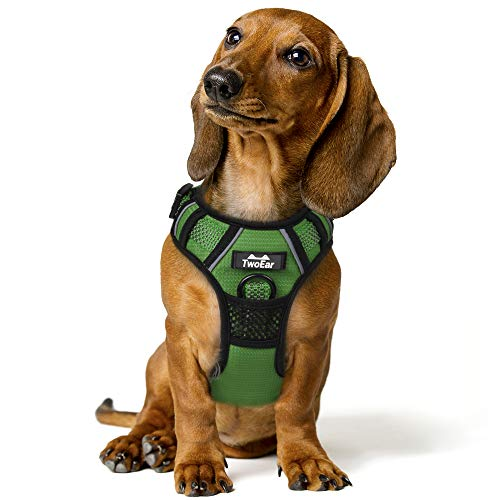 TwoEar Dog Harness, No Pull Reflective Harness Front Clip Easy Control Handle Adjustable Soft Padded Pet Vest for Puppy Small Medium Large Dogs Breed Pet(Medium,Green)