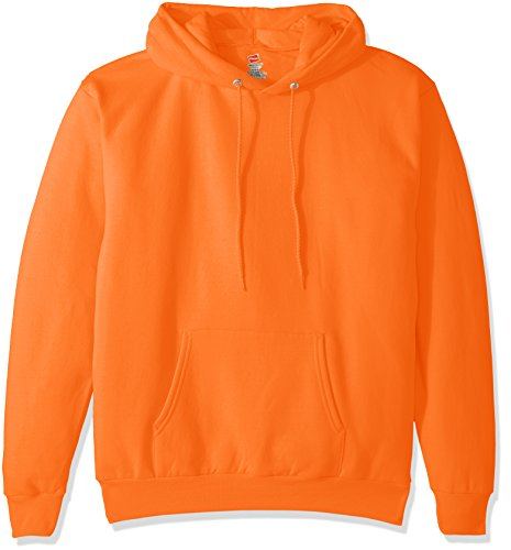 Hanes Men's Pullover EcoSmart Fleece Hooded Sweatshirt, safety orange, Large