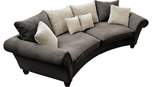 Big-Sofa XXL-Couch Wohnlandschaft | Breitcord | Braun | BxHxT: 350x79x106 cm