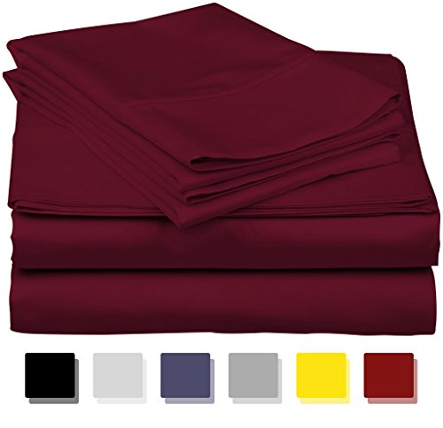 True Luxury 1000-Thread-Count 100% Egyptian Cotton Bed Sheets, 4-Pc California King Burgundy Sheet Set, Single Ply Long-Staple Yarns, Sateen Weave, Fits Mattress Upto 18'' Deep Pocket