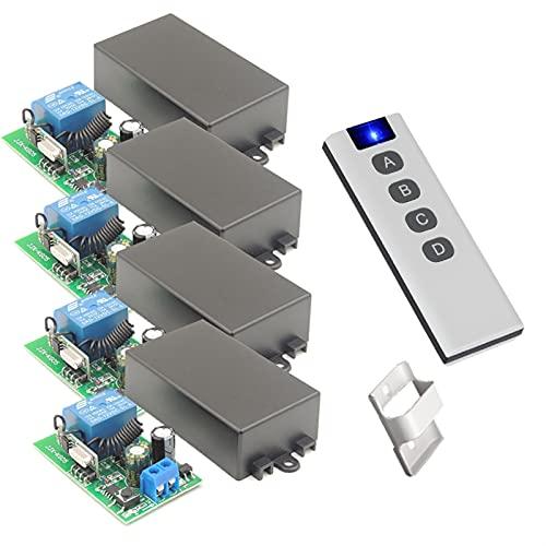 LIZONGFQ Zhang Asia 433MHZ Interruptores de luz de botón Inteligente para el hogar Universal Control Remoto inalámbrico AC 100V 220V 10Amp RESHECHE Receive Ajuste para Ventilador LED (Color : 4RC 1B)