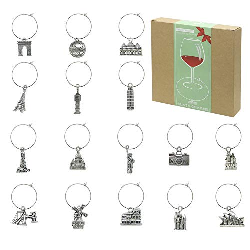16 Piece Travel Themed Wine Glass Charms,Wine Tasting Party Decoration Supplies Gift