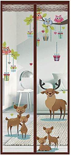 SUIYI Cartoon Fortune Deer Pattern Fliegengitter Schwingtür 100x210cm / 39x82inches Fliegengitter Aldi für Schiebetür/Französisch/Glas/Veranda, Kaffee,Ohne Bohren