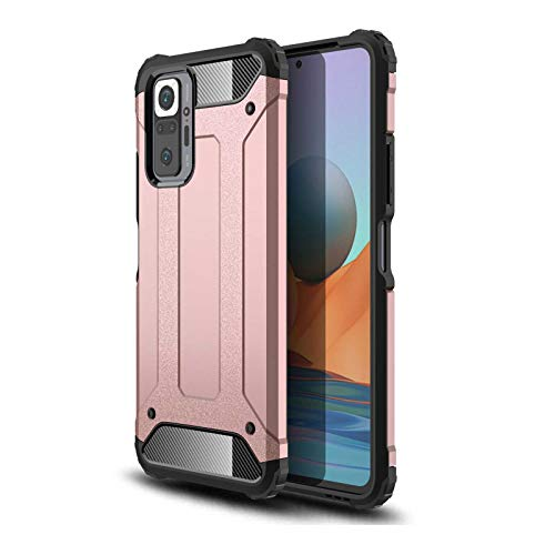 KERUN Funda para Carcasa Telefono Xiaomi Poco M3 Pro 5G | Redmi Note 10 5G, Estuche Protectora Ultrafina Híbrida de Doble Capa [TPU + PC], Duradera Resistente Cubierta Protectora. Oro Rosa