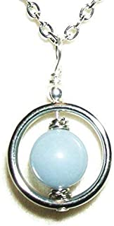 ANGELITE NECKLACE Pendant SERENITY INNER PEACE FORGIVENESS Metaphysical Sacred Stone Silver Plt