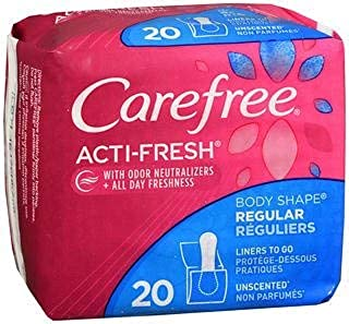 Carefree Acti-Fresh Body Shape Pantiliners Regular Unscented - 20 Liners, Pack of 4