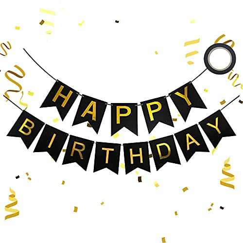 Happy Birthday Banner, Black Happy Birthday Banners Garlands with Shiny Gold Letters & Ribbon, Black Happy Birthday Bunting Banners for Girls Boys Women Men Baby Shower Birthday Party Decorations