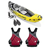 Intex Explorer K2 Yellow 2 Person Inflatable Kayak with Aluminum Oars & Air PumpNRS Vapor Adult Small Medium PFD Type III Boating Kayak Life Jacket Vest, Red (2 Pack)