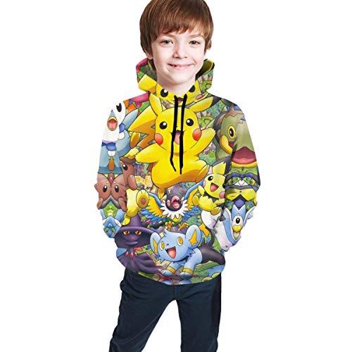 Teen Hoodie Boys and Girls Pullover Sweatshirt Black Funny One Piece-Monkey D S